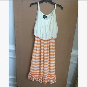 NWOT ModCloth Angie orange and white dress L.